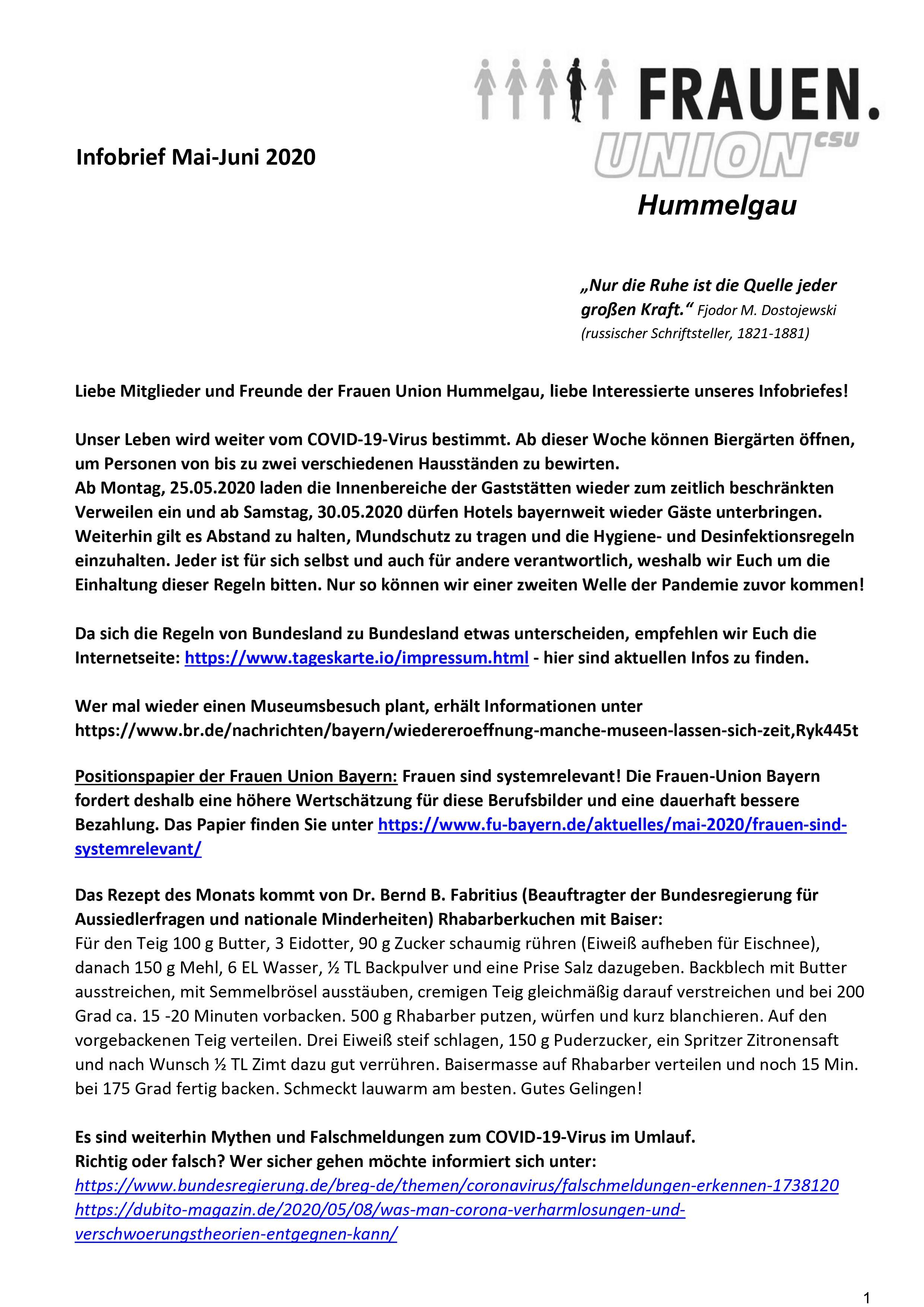 Infobrief Mai-Juni 2020 - Frauenunion Hummelgau 1