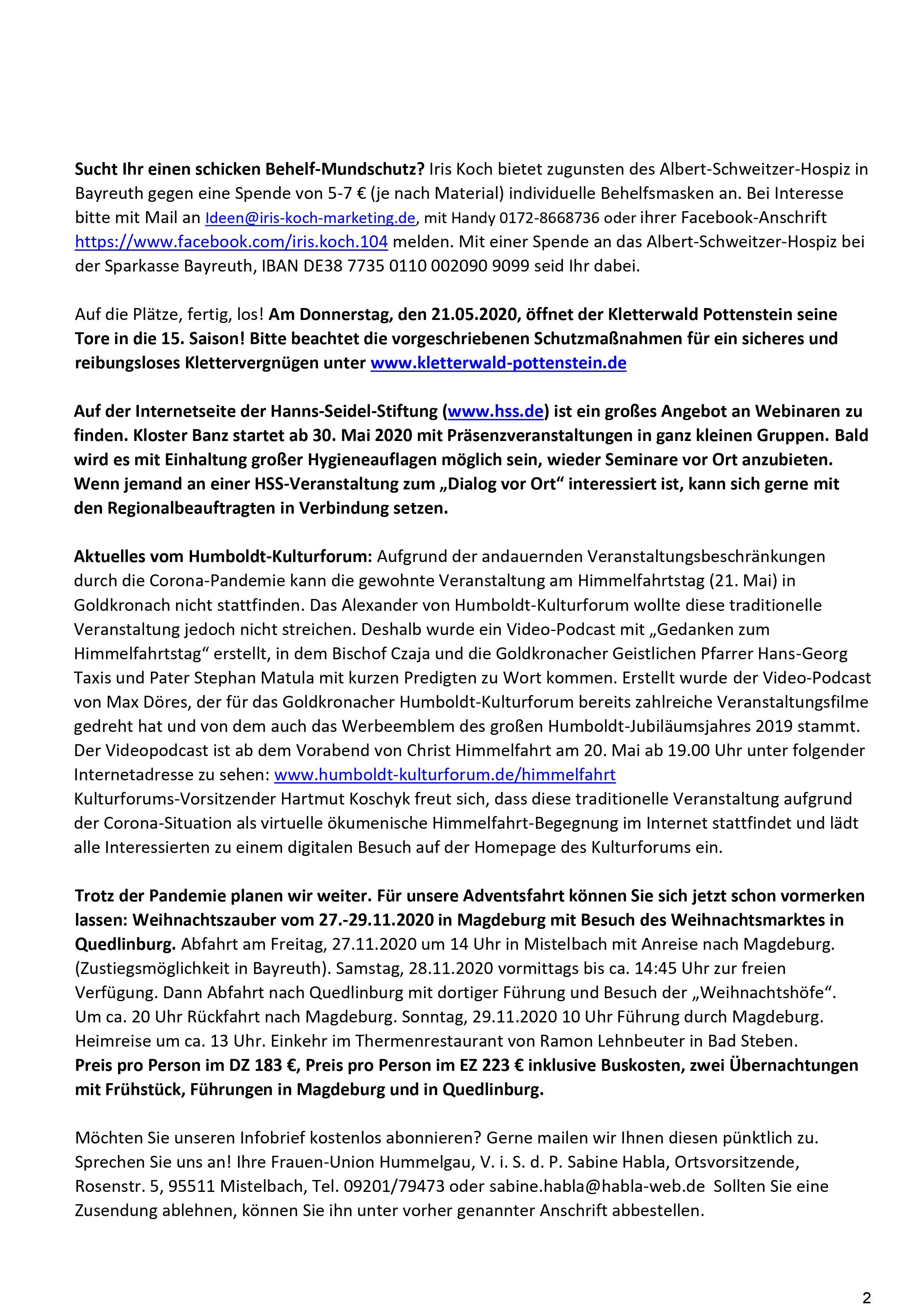 Infobrief Mai-Juni 2020 - Frauenunion Hummelgau 2
